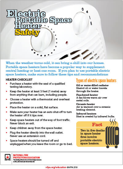 Electric Portable Space Heater Safety, 51KB PDF