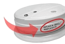 Smoke detector showing expiration date has passed